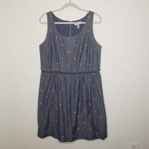 LOFT Chambray Denim Polka Dot Dress New